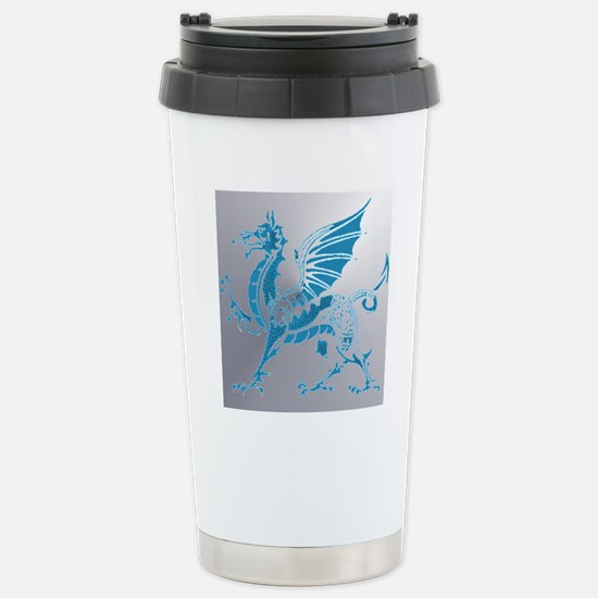 Blue  Silver Dragon Stainless Steel Travel Mug