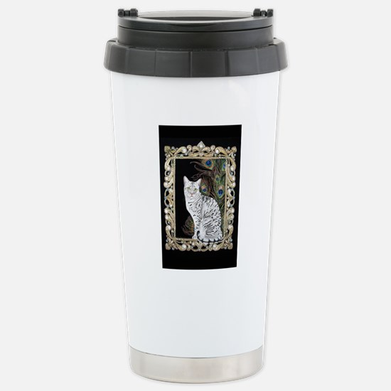 Silver Egyptian Mau Stainless Steel Travel Mug