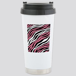 Zebra Print Mix Pink Stainless Steel Travel Mug