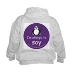 I'm allergic to soy Kids Hoodie-back design