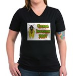 Cicada Invasion 2007 Women's V-Neck Dark T-Shirt