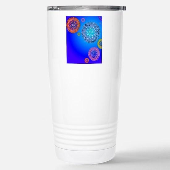 Herpes virus particles, Stainless Steel Travel Mug