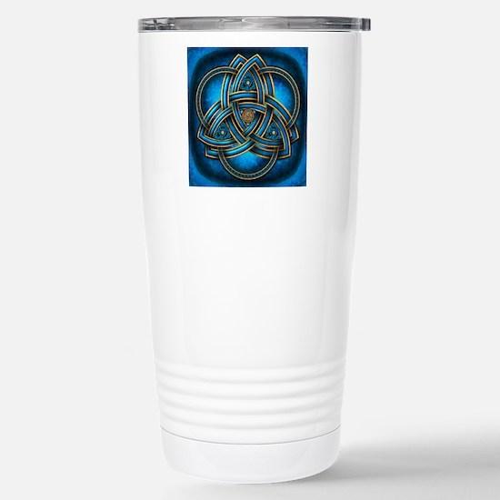 Blue Celtic Triquetra Stainless Steel Travel Mug