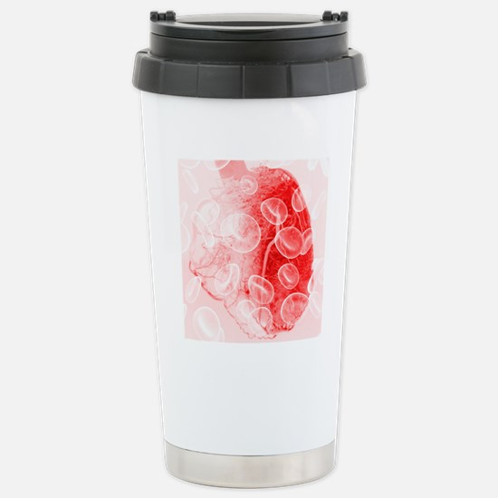 Heart and red blood cel Stainless Steel Travel Mug