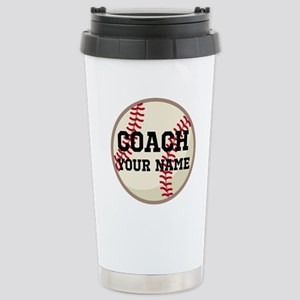 Personalized Baseball Coach Stainless Steel Travel