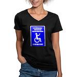 Party-Capped Women's V-Neck Dark T-Shirt