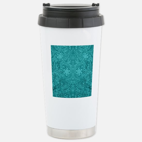 Leather Look Floral Tur Stainless Steel Travel Mug