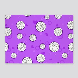 Cute Volleyball Pattern Purple 5'x7'Area Rug