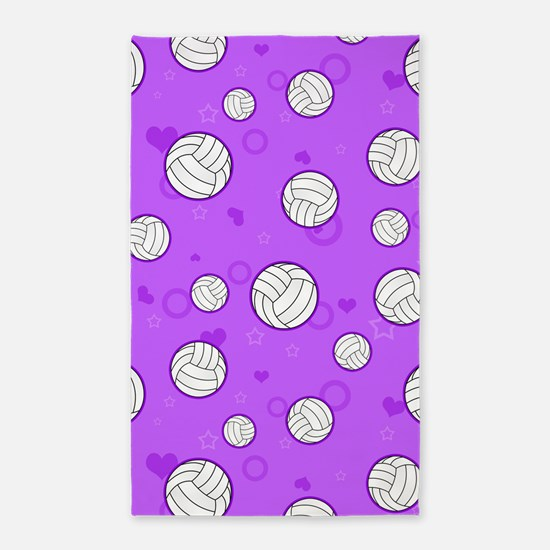 Cute Volleyball Pattern Purple 3'x5' Area Rug