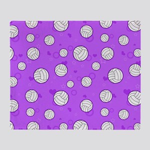 Cute Volleyball Pattern Purple Throw Blanket