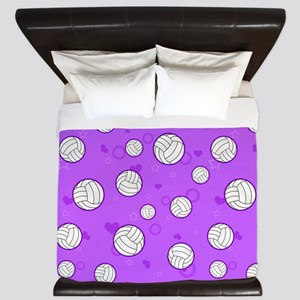 Cute Volleyball Pattern Purple King Duvet