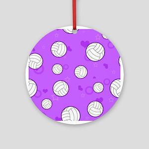 Cute Volleyball Pattern Purple Ornament (Round)
