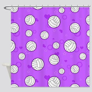 Cute Volleyball Pattern Purple Shower Curtain