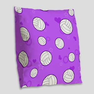 Cute Volleyball Pattern Purple Burlap Throw Pillow