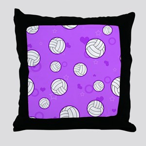 Cute Volleyball Pattern Purple Throw Pillow