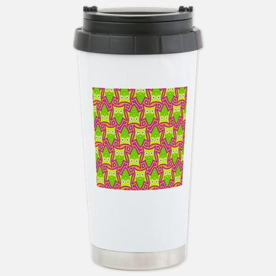 Pink Green and Yellow O Stainless Steel Travel Mug