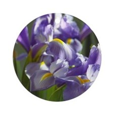 Twirl Purple Iris Flower Photo Ornament (Round)