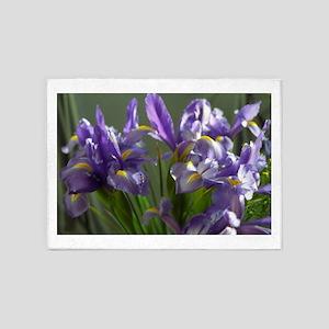 Twirl Purple Iris Flower Photo 5'x7'Area Rug