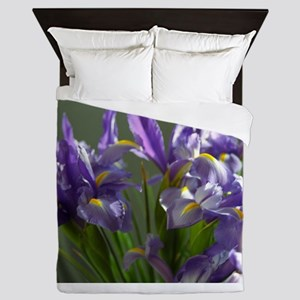 Twirl Purple Iris Flower Photo Queen Duvet