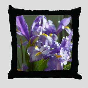 Twirl Purple Iris Flower Photo Throw Pillow