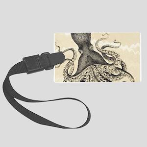 Vintage octopus on marbling texture Luggage Tag