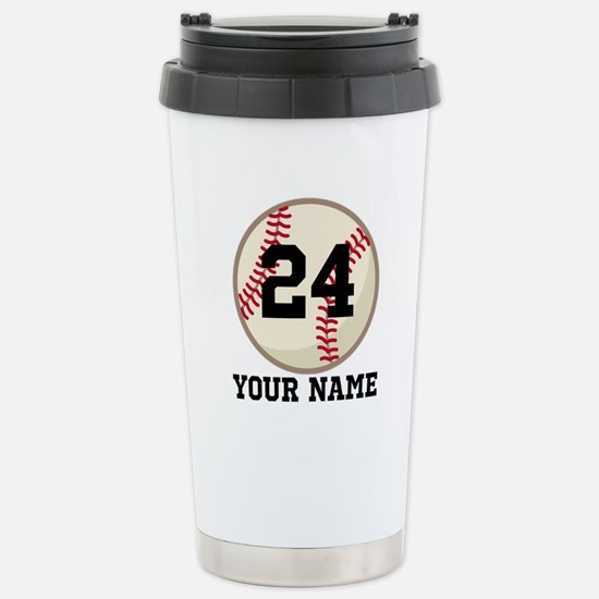 Personalized Baseball Sports Stainless Steel Trave