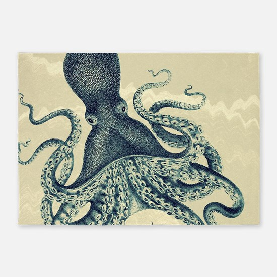 Vintage octopus in black and white on marbling tex