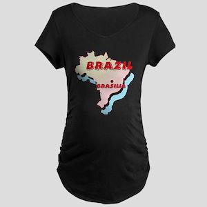 Brazil Map Maternity Dark T-Shirt