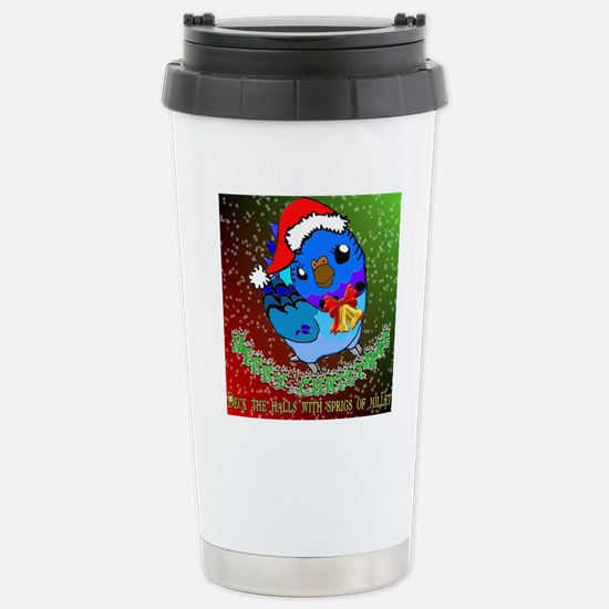 Christmas Budgie Stainless Steel Travel Mug