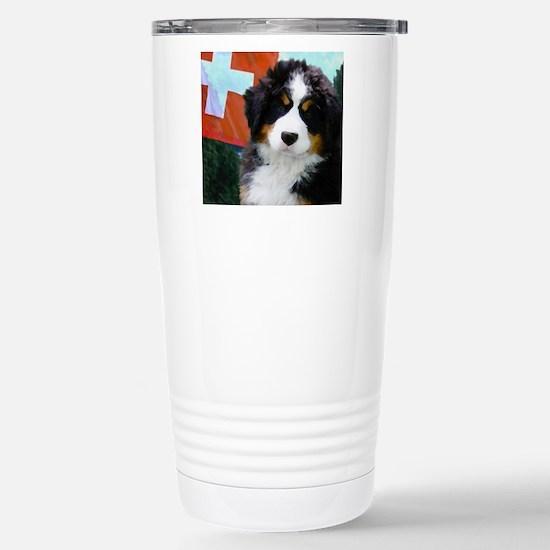 Swiss Bernese Puppy WIn Stainless Steel Travel Mug