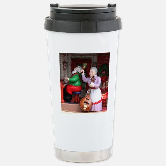 Santa on Piana and Mrs. Stainless Steel Travel Mug
