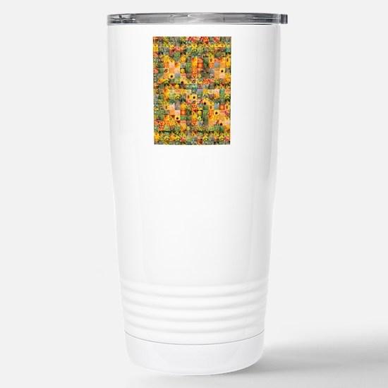 Spring Flower Patchwork Stainless Steel Travel Mug