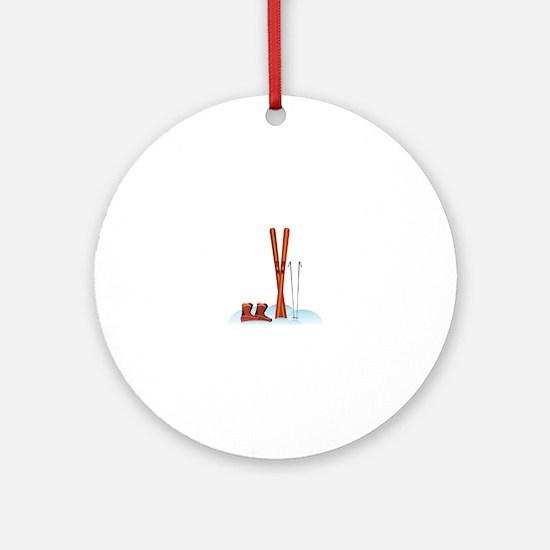 Ski Gear Ornament (Round)