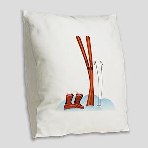 Ski Gear Burlap Throw Pillow