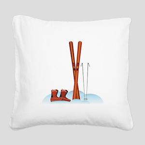 Ski Gear Square Canvas Pillow