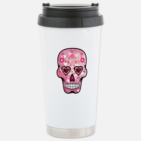 CANDY SKULL-Pink hearts-1 Stainless Steel Travel M