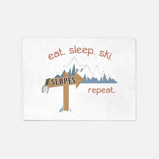 Slopes Eat. Sleep. Ski. Repeat. 5'x7'Area Rug