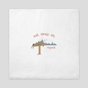 Slopes Eat. Sleep. Ski. Repeat. Queen Duvet