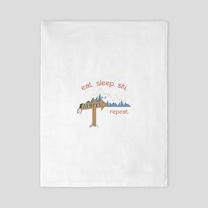Slopes Eat. Sleep. Ski. Repeat. Twin Duvet