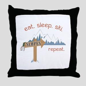 Slopes Eat. Sleep. Ski. Repeat. Throw Pillow