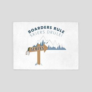 Boarders Rule Skiers Drule! 5'x7'Area Rug