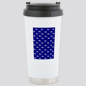 Blue His and Hers flip  Stainless Steel Travel Mug