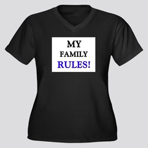 My FAMILY Rules! Women's Plus Size V-Neck Dark T-S
