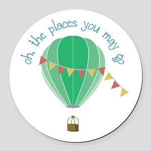 oh, the places you may go Round Car Magnet