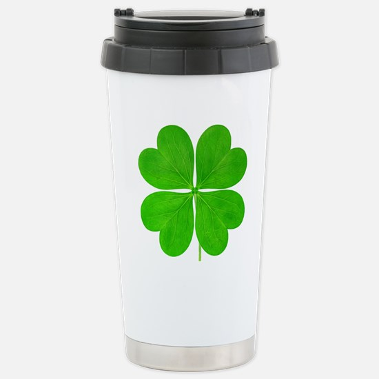 Four leaf clover agains Stainless Steel Travel Mug