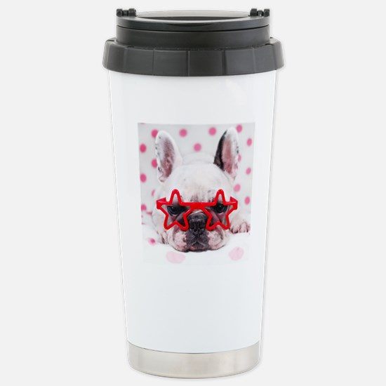 Bulldog with star glass Stainless Steel Travel Mug