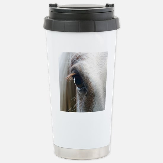Close up of White horse Stainless Steel Travel Mug