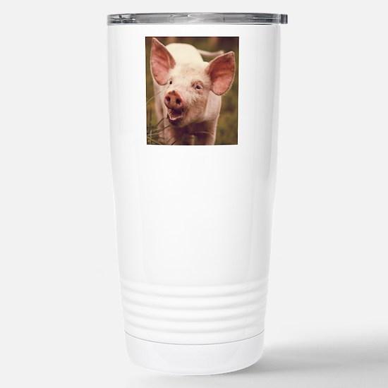 Happy little piglet. Stainless Steel Travel Mug