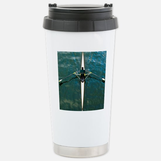 Scull man square river  Stainless Steel Travel Mug
