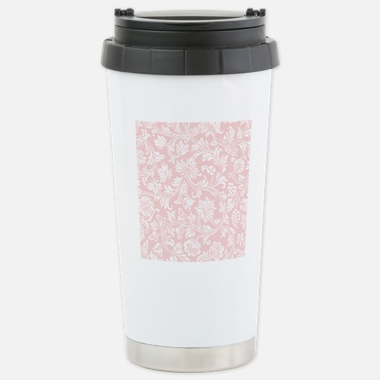 Pink and White Damask Stainless Steel Travel Mug
